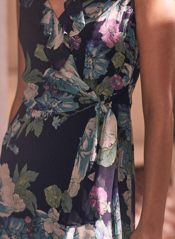 Maggy London - Robe fleurie à détails volantés, Bleu
