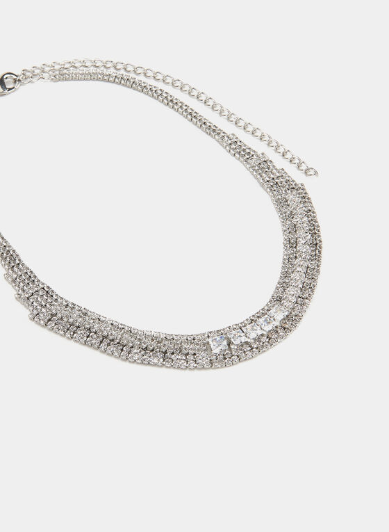Multi-Layered Crystal Necklace , Silver