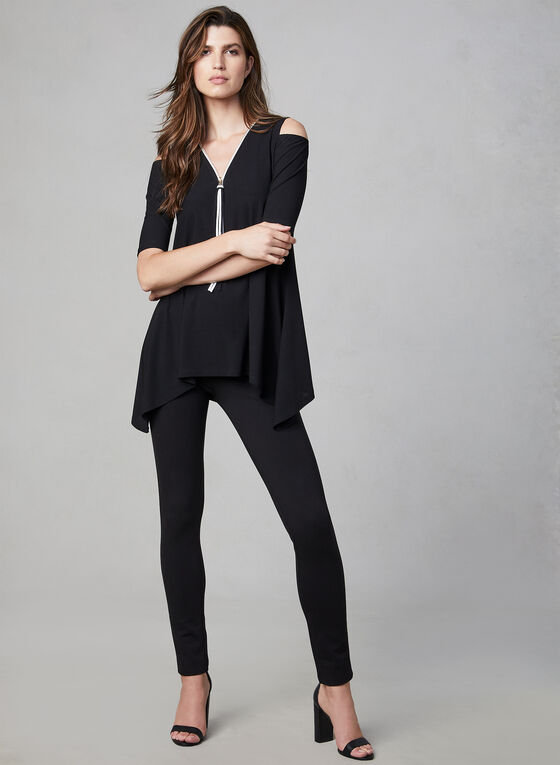 Cold Shoulder Crepe Top, Black