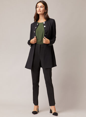 Button Front Redingote, Black,  jacket, redingote, buttons, pockets, long sleeves, ponte di roma, fall winter 2020