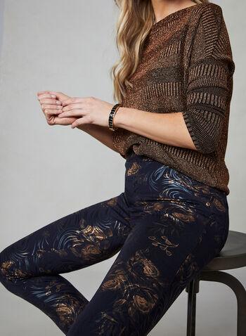 Insight - Pantalon à motif floral métallisé, Noir, hi-res,  fleurs, imprimé, volutes, métallique, brillant, fêtes 2019, automne hiver 2019, jambe étroite