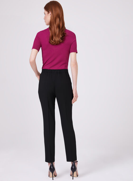 Slim Leg Pull-On Ankle Pants, Black, hi-res