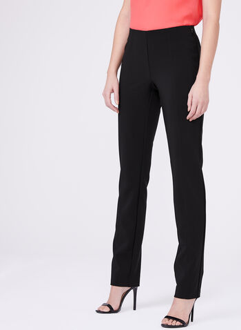 Pantalon pull-on Bella à jambe droite, Noir, hi-res