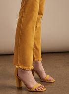 Jeans à jambe étroite et ourlet frangé , Jaune