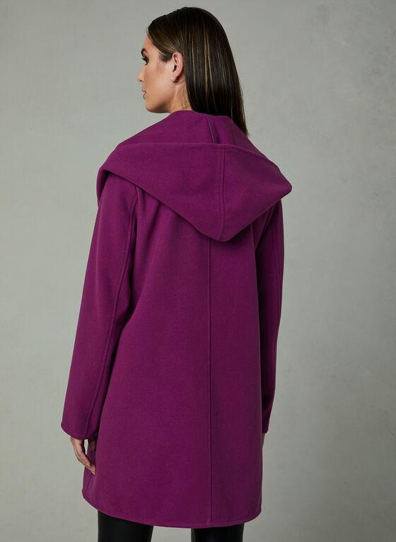 Hooded Shawl Collar Coat, Pink, hi-res