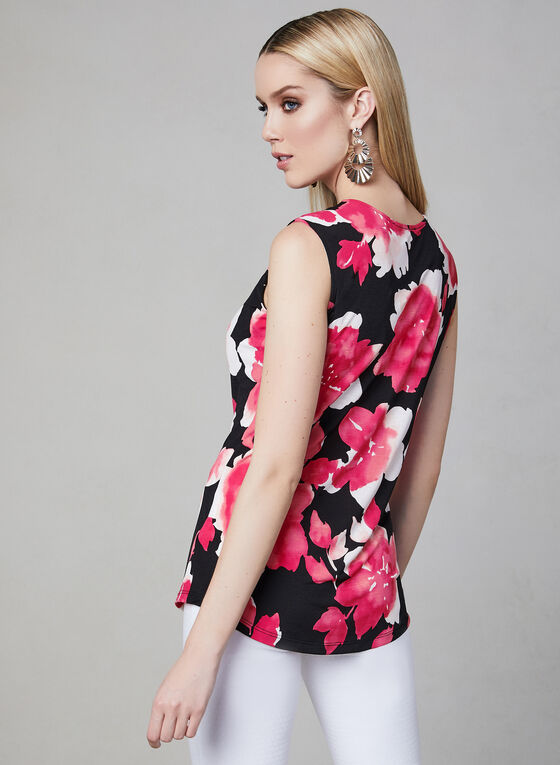 Floral Print Top, Black, hi-res
