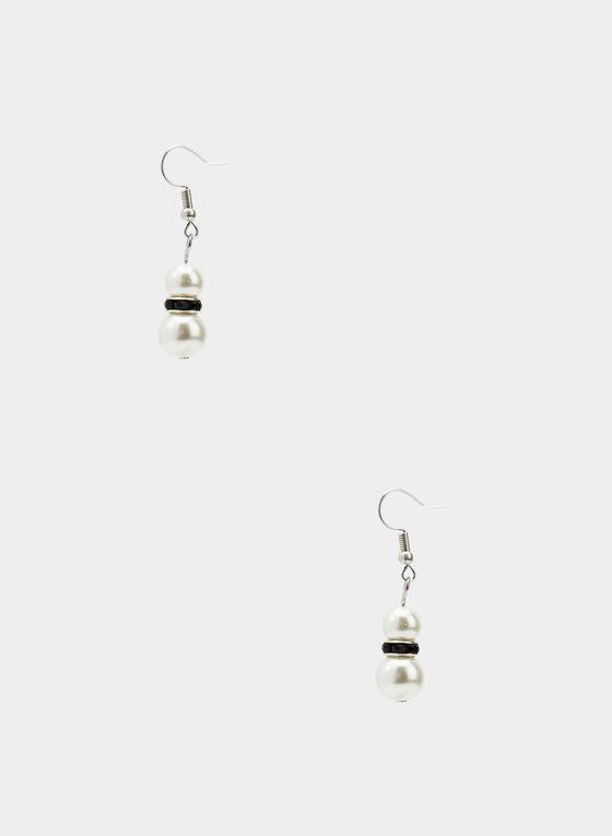 Boucles d'oreilles à perles, Noir, hi-res