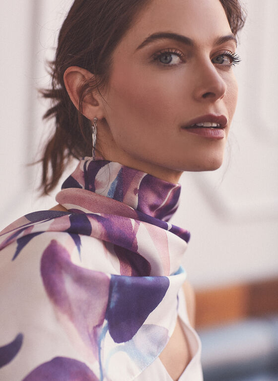 Foulard en soie à motif feuilles, Bleu