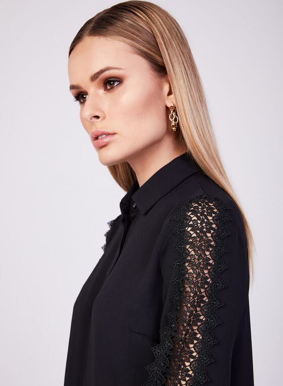 Lace Detail Long Sleeve Blouse, Black, hi-res