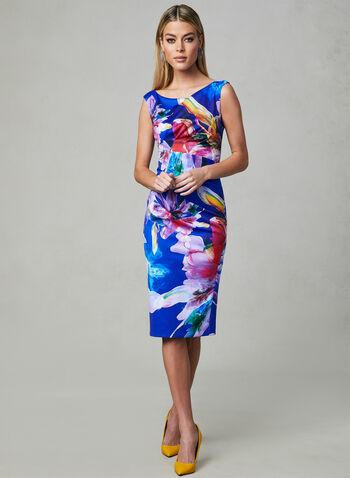 Joseph Ribkoff - Floral Print Sheath Dress, Blue, hi-res