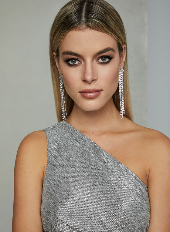 Adrianna Papell - One Shoulder Gown, Silver, hi-res