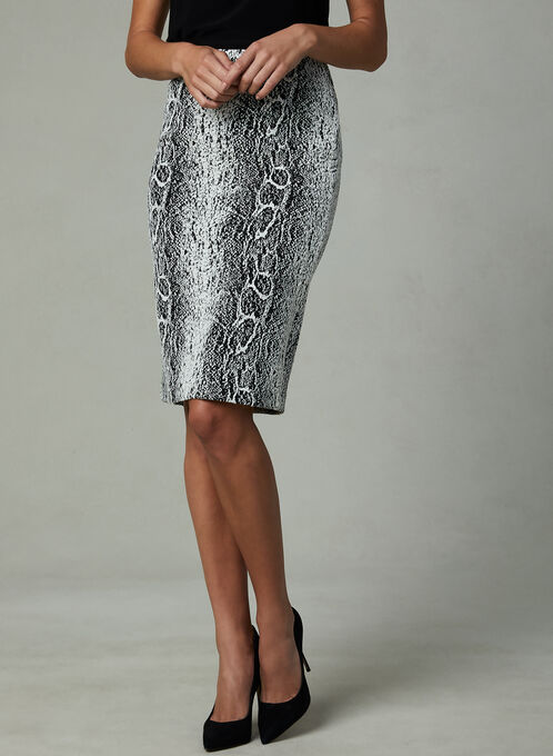 Snakeskin Print Pencil Skirt, Black, hi-res