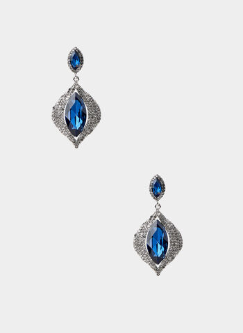 Stone Dangle Earrings, Blue,  dangle earrings, eye-shaped stone, crystal pavé border