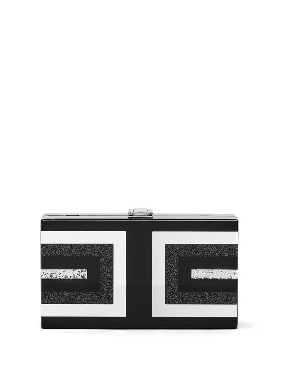 Minaudière carrée en lucite, Noir, hi-res