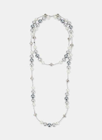 Pearl & Bead Necklace , Grey, hi-res