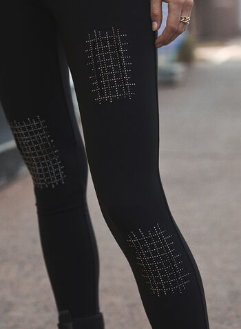 Joseph Ribkoff - Stud Detail Leggings, Black,  fall winter 2021, made in Canada, online exclusive, Joseph Ribkoff, Frank Lyman, pull-on, elastic waist, slim leg, stud, studded, stone, embellished, patch, detail, leggings