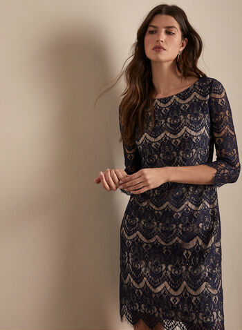 Lace Cocktail Dress, Blue,  spring summer 2020, 3/4 sleeves, lace, scoop neck