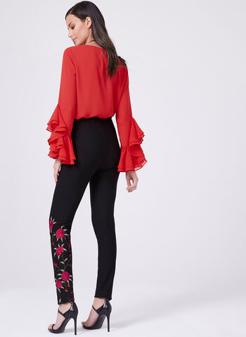 Frank Lyman - Floral Embroidered Pants, Black, hi-res