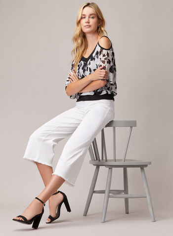 Floral Print Cold Shoulder Top, White,  top, v-neck, chiffon, floral print, cold shoulder, spring summer 2020