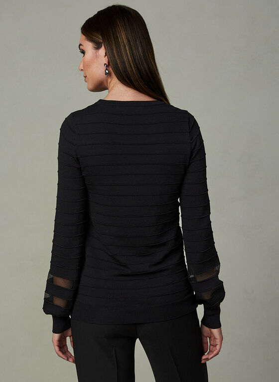 Ribbed Balloon Sleeve Top, Black, hi-res