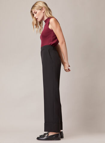 Wide Leg Folded Hem Pants, Black,  pants, folded hem, wide leg, pockets, pleats, fall winter 2020