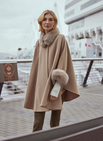 Mallia - Fur & Cashmere Blend Coat, Beige,  coat, wool, cashmere, fox fur, high neck, single button, fall winter 2020