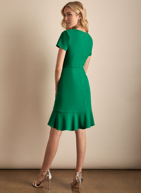 Karl Lagerfeld Paris - Short Sleeve Flounce Detail Dress, Green