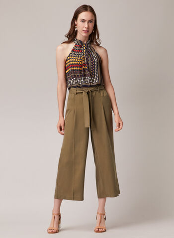 Tencel Gaucho Pants, Green,  pants, gaucho, wide leg, elastic waist, belt, tencel, pleats, pockets, spring summer 2020