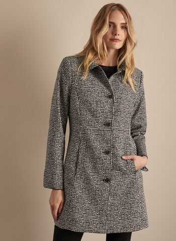 Novelti - Dotted Button-Up Coat, Black,  coat, dotted, buttons, shirt collar, jacquard, shoulder pads, spring summer 2020