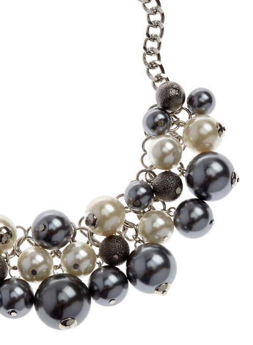 Pearl Two-Tone Cluster Necklace, Grey, hi-res