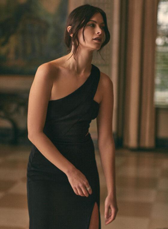 BA Nites - Robe fourreau à une épaule dénudée, Noir