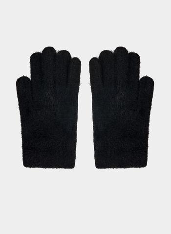 Karl Lagerfeld Paris - Knit Gloves , Black,  gloves, knit, hairy, yarn, jewels, fall winter 2019