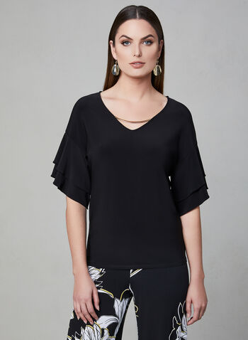 Frank Lyman - Ruffle Sleeve Top, Black, hi-res
