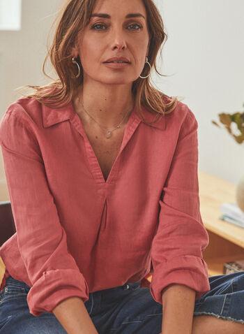 Vince Camuto - Split Neckline Linen Top, Pink,  top, blouse, long sleeves, v-neck, shirt collar, linen, spring summer 2021
