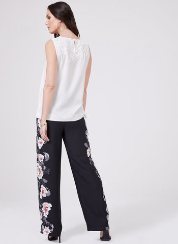 Puff Print Tie Detail Blouse, Off White, hi-res