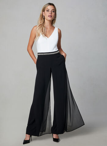 Sleeveless Beaded Jumpsuit, Black, hi-res,  fall 2019, winter 2019, beads, crystals, sleeveless, wide leg