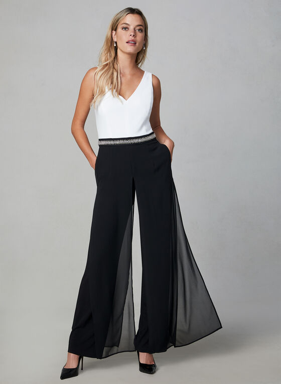 Sleeveless Beaded Jumpsuit, Black