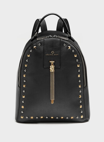 Céline Dion - Studded Faux-Leather Backpack Purse, Black, hi-res