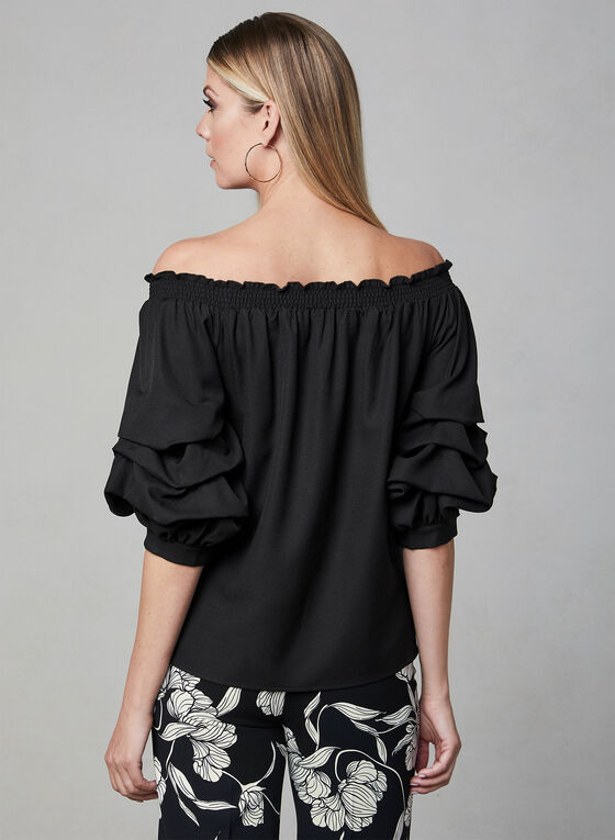 Crepe Off-the-Shoulder Top, Black, hi-res