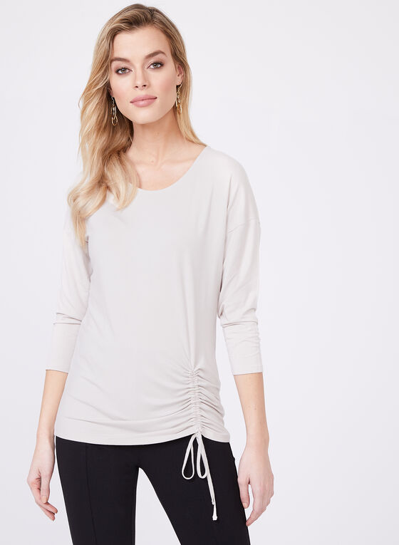 Front Tie Jersey Top, Off White, hi-res