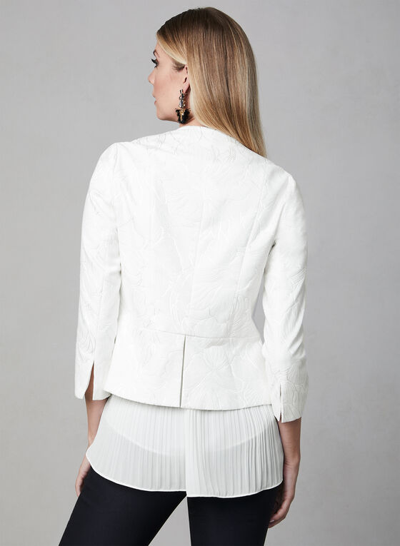 Floral Print Open Front Jacket, Off White, hi-res