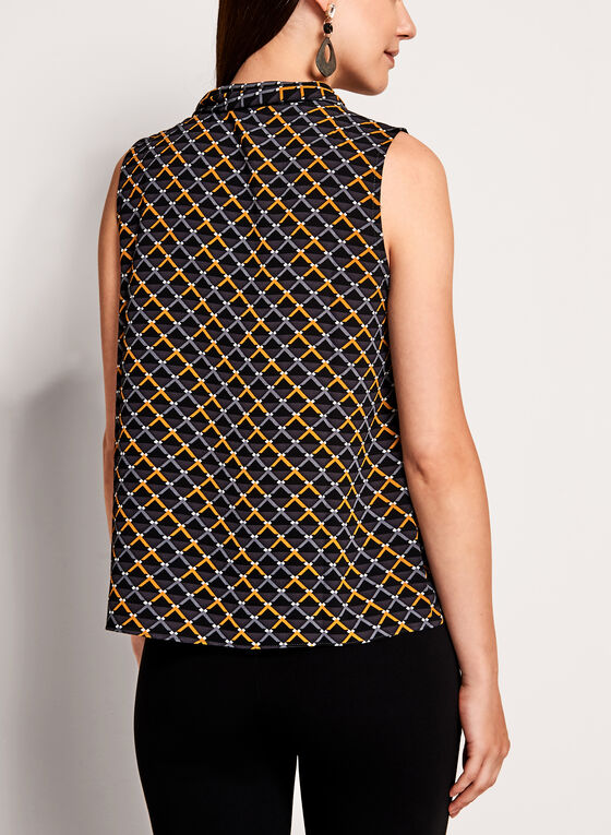 Graphic Print Tie Neck Crêpe Top, Black, hi-res