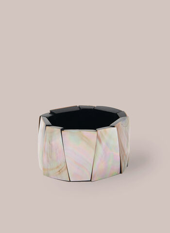 Iridescent Stretch Bracelet , Off White,  bracelet, sectioned, iridescent, stretch, spring summer 2020