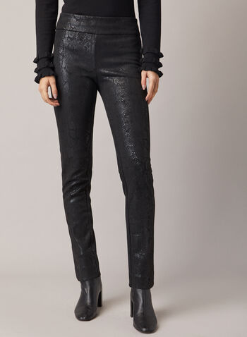 Snake Print Madison Pants, Black,  pants, slim, snake, faux suede, madison, fall winter 2020