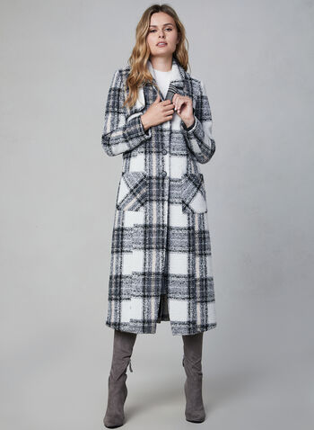 NVLT - Plaid Coat, White,  NVLT, coat, long sleeves, notch collar, patch pockets, plaid, button down, fall 2019, winter 2019