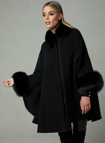 Mallia – Fox Fur Trim Wool Cape, Black,