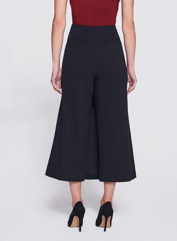 Jupe-culotte portefeuille à boutons décoratifs, Noir, hi-res