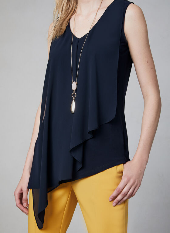 Sleeveless Asymmetric Top, Blue, hi-res