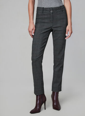 Slim Leg Plaid Print Pants, Grey,  Ankle pants, plaid slacks