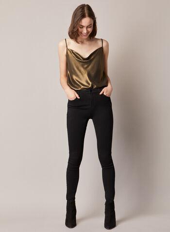 Metallic Cowl Neck Sleeveless Blouse, Gold,  top, cami, sleeveless, spaghetti straps, cowl neck, metallic, fall winter 2020